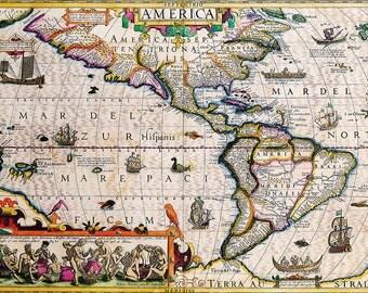 Jodocus Hondius: Map of the Americas. Antique/Vintage Map. Fine Art Print/Poster (003902)