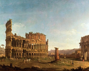Canaletto: Colosseum and Arch of Constantine, Rome. Fine Art Print/Poster. (003579)