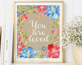 Inspirational Print Wall Decor printable art poster Typography You are loved Modern decor digital typography kids decoration Watercolor 3-83