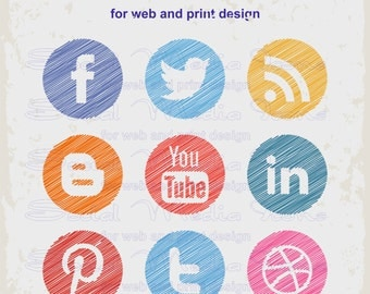 Social Media Icons. For web and print design.