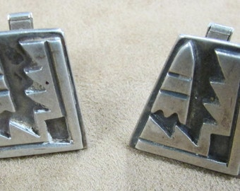 Sterling Silver Cuff Links with Bold Geometric Design by Elias
