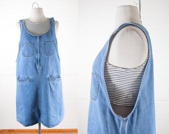 Denim Babydoll Dress, Vintage 90s Dress, Denim Dress, Tent Dress, Soft Grunge Clothing, Denim Overalls, Mini Dress Bib Overalls Jumper Dress