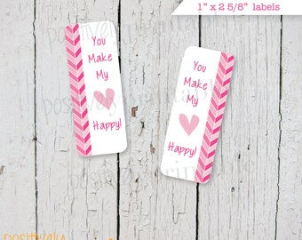 You Make My Heart Happy  Valentine's Day  Printable Stickers/Labels