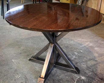 Round Trestle Table - Black Walnut and Steel