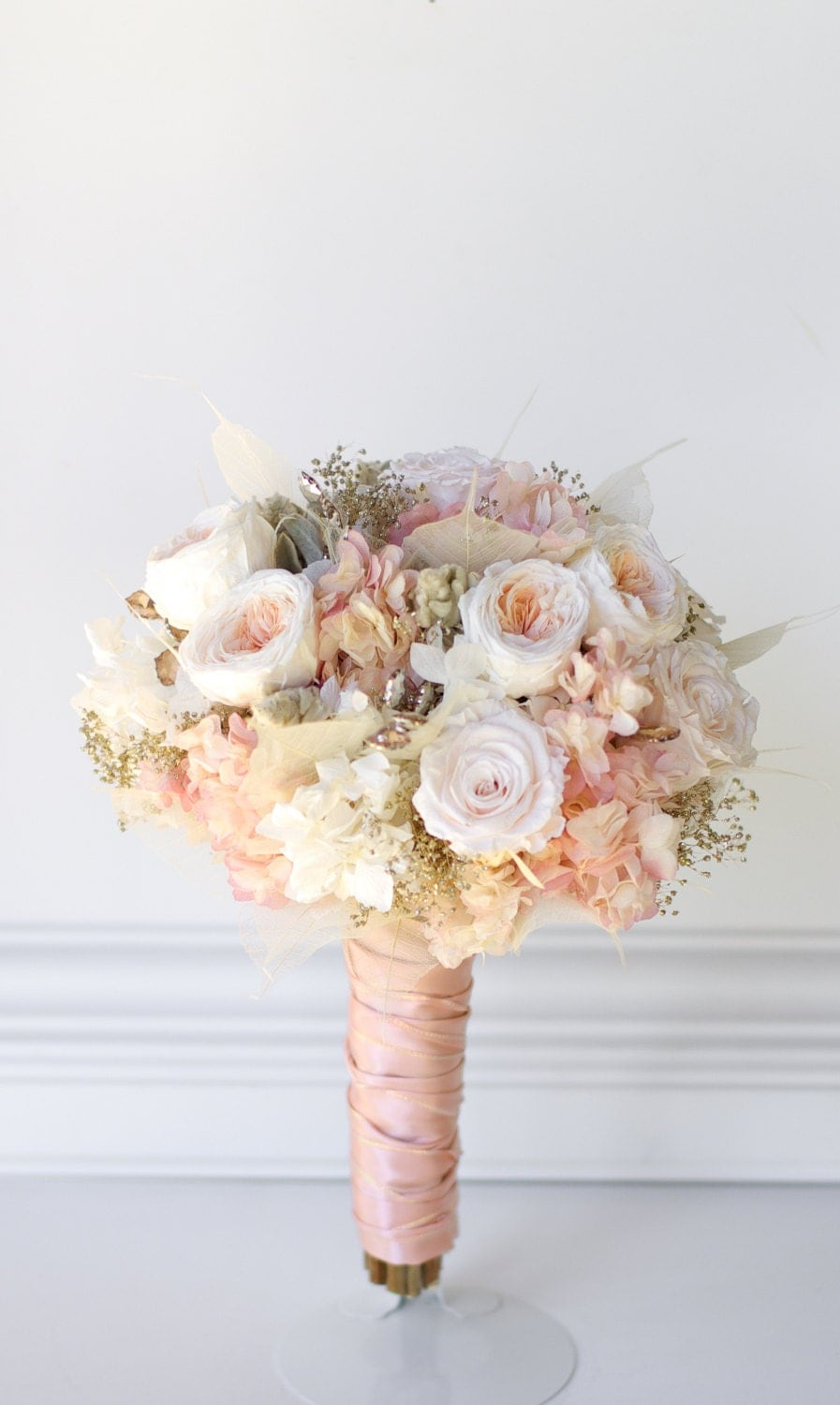 rose gold bridal bouquet preserved flowers not dried