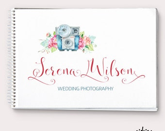 Camera and Flower Logo Design  Premade Signature Logo  Photography Logo Watercolor  Chic Photography Business  Infant Photography Logo