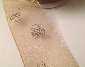 """May Arts Bumble Bee Sheer Print Ribbon 1.5"""""""