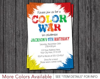 Color War Invitation • Color Run Birthday Party Invitations