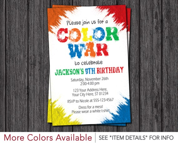 Color war invitation color run birthday party invitations like this item stopboris Image collections