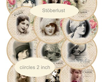 colored circle 12 x 2 inch (5 cm ) shabby chic Ladies, Flapper, roaring twenties, instant download digital collage sheet