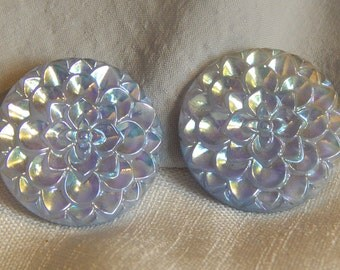 Adorable Vintage Clip Earrings - Periwinkle Flowers, Western Germany