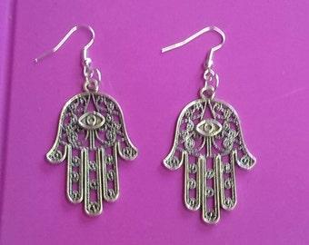 fantasy earrings hand of Midas fatima hamsa