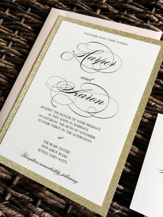 gold glitter wedding invitations gold glitter wedding invitation with glitter by czinvitations 4534