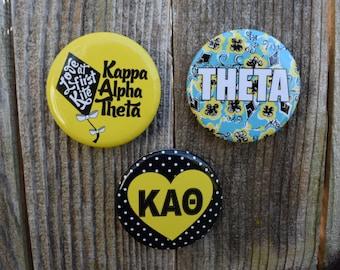 "3 Kappa Alpha Theta, KAΘ, 2.25"" Round Button. Pin Back Sorority Buttons"