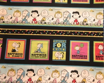 Peanuts Border Fabric -  2011 Quilting Treasures - Happiness Is - 1.50 Yards