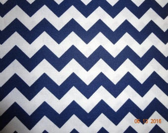 "3/4 Yard Navy and White Small Chevron Print Cotton Fabric - 43"" wide - Riley Blake C340-21"