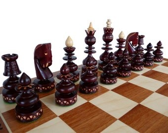 Unique Handmade Wooden Chess Set, Marquetry, Gift Idea