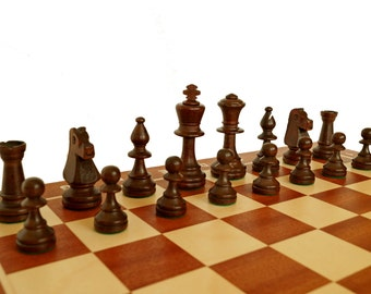 Professional Staunton Chess Set, Inlaid chess board + wooden box for Weighted Pieces -Mahogany!