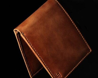 Jack DOUBLE I.D. Bifold Wallet - BROWN - PERSONALIZED Leather Wallet - Mens Wallet - Men's Gifts - Groomsmen Gifts - Grad Gift