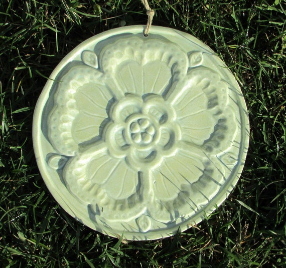 Ceramic Rose Medallion Decorative Tile -- Floral tile glazed in Sea Spray glaze, home decor