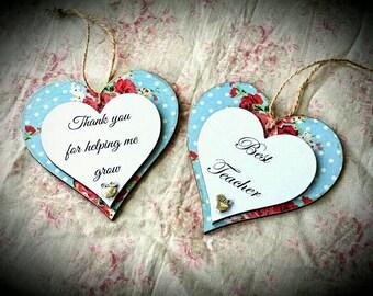 Blue Floral Wooden Hanging Heart.Best Teacher. School Teacher Gift. End Of Term.Appreciation Gift. Thank You For Helping Me Grow