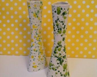 Retro bud vase, ceramic bud base, splatter paint, speckled, 1970s, green and yellow vases