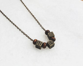 Necklace Square Wood / Brass&Wood Material / JN16