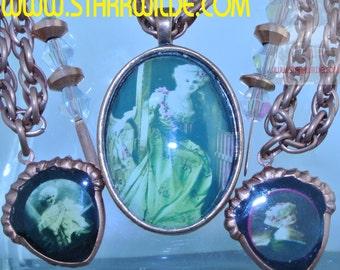 STARR WILDE STEAMPUNK Vintage Belle Epoque Star Arlette Dorgere White Wig Copper Necklace Swarovski Crystals Set Available Carriage Regency