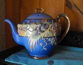 Japanese Moriage Teapot, Large Blue Tea Server, Flower Blossoms And Bird Motif