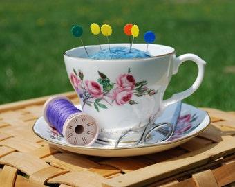 Pink Rose Teacup Pincushion