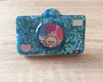 Blue Glittery Kawaii Bear Camera Magnet