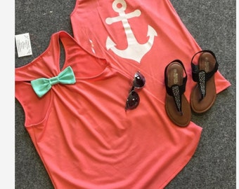 SALE Mint and Coral Monogram Bow Back Tank