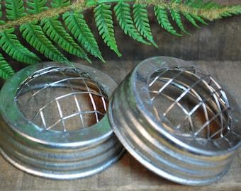 "12 Galvanized JAR LIDS w/ FROG - 3"" - fit Standard Mouth Mason Jars"