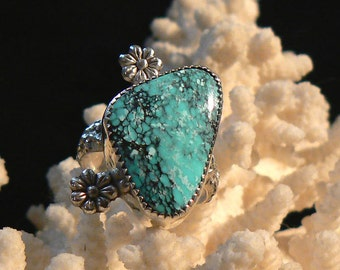 Number 8 Turquoise and Sterling Silver Ring, Size 8 US, 10 carat
