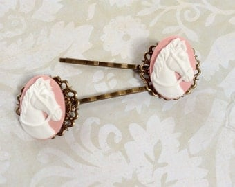 Horses White on Pink Hair Clips