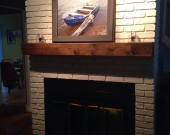 "Fireplace mantel.60"" Long x 5.5"" Tall x 5.5"" Deep.Floating shelf.Fireplace Mantle .TV Shelf .Wooden Mantel.Home Decor.Fireplace Decor."