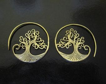 Brass Earrings Tree of Life, Brass Tribal Earrings, Tribal Earrings , Earrings, belly dance
