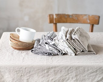 Washed natural large linen tablecloth