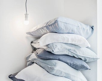 "Set of 2 / 20""x28"" (50x70 cm) SUPER STANDARD / Set of 2 washed linen pillowcases / 25 colors"