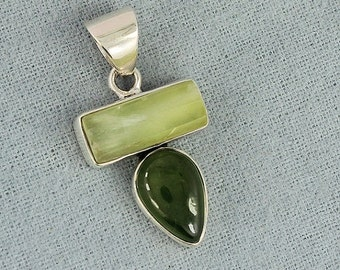 On Sale Natural Idocrase, Prehnite  Gemstone Pendant - 925 Sterling Silver  Pendant - Artisan Gift  Jewelry