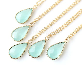 5% OFF, Bridesmaid gifts, Set of 4,5,6, Mint necklace, New mint teardrop necklace, Mint bridal jewelry, Mint wedding jewelry, Mint wedding