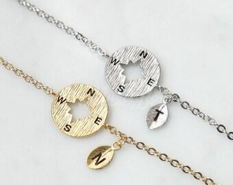 Personalized compass bracelet, Wanderlust bracelet, Friendship bracelet, BFF bracelet, Compass jewelry, Nautical bracelet, Initial bracelet