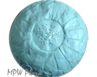 Sale-Mint Green Moroccan Leather Pouf / Ottoman