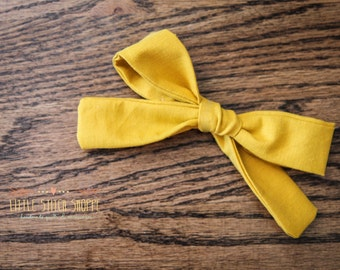 Fabric Bow, Hair Bow, Hair Clip, Toddler Bow, Baby Bow, Alligator Clip- Mustard Yellow
