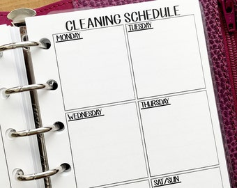 Pocket Cleaning Schedule printed planner insert - supplies needed - clean house - chores - weekly maintenance - #324
