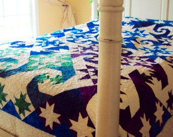 Blue and White Handmade Quilt- Mystical Swirl Pattern- Birthday Gift- Home Decor