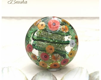 "Lampwork Large Focal Bead Glittery Lentil ""Flowerfield"" Beusha Glass Bead handmade fashionjewelry flowers Murrini red orange yellow green"