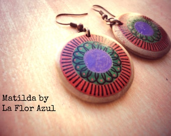 Hand painted wood earrings Matilda