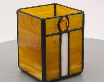 "Birthday Candle Shelter Stained Glass in Amber ""Sweet Light"" by Kolor Waves Glass"