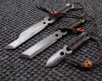 Integrity Implements Airframe Set Leather Wrapped Hand made Hammer Forged Knife set